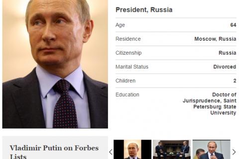Forbes вновь назвал Владимира Путина самым влиятельным человеком в мире