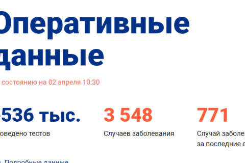 В России число заразившихся коронавирусом выросло до 3548 человек
